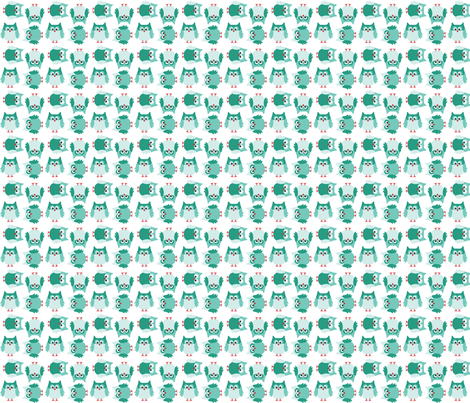 Owl so green fabric by pieke_wieke on Spoonflower - custom fabric