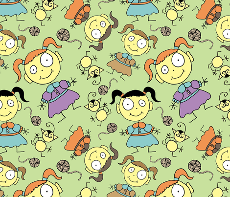 A girl and her cat fabric by joojoostrees on Spoonflower - custom fabric
