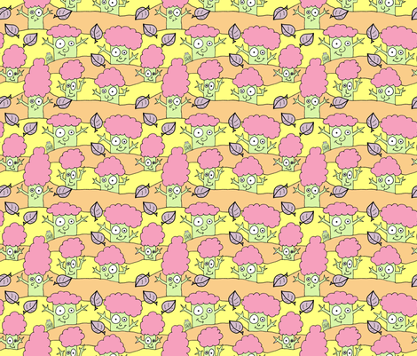 Happy Hello Trees! fabric by joojoostrees on Spoonflower - custom fabric