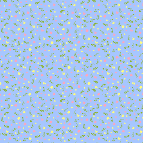 Ditsy blue bee fabric by raccoons_rags on Spoonflower - custom fabric