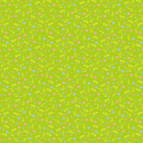 Ditsy green bee fabric by raccoons_rags on Spoonflower - custom fabric