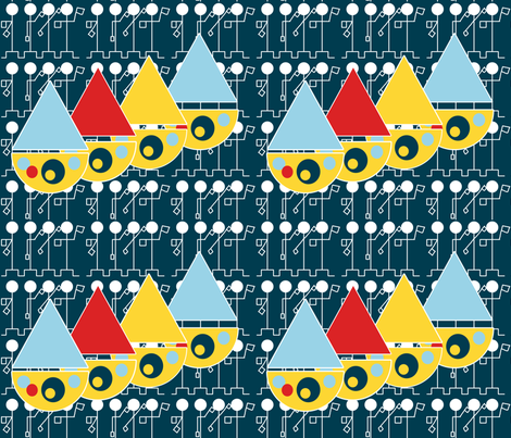 Sailing on a Sea of Semaphores fabric by anniedeb on Spoonflower - custom fabric