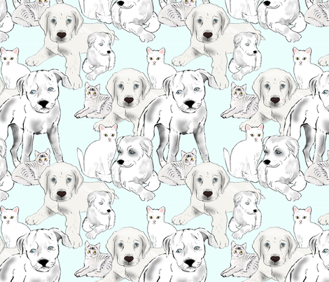 puppies_and_kittens_ fabric by dogdaze_ on Spoonflower - custom fabric