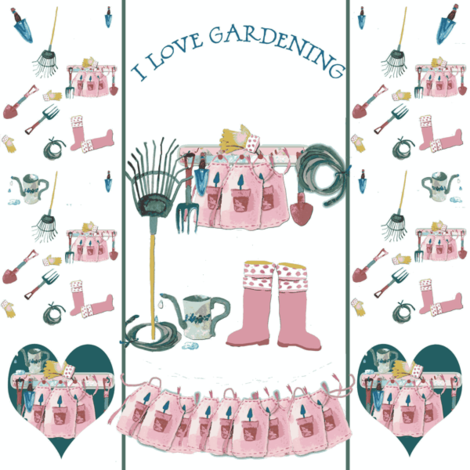 I love Gardening on white fabric by karenharveycox on Spoonflower - custom fabric