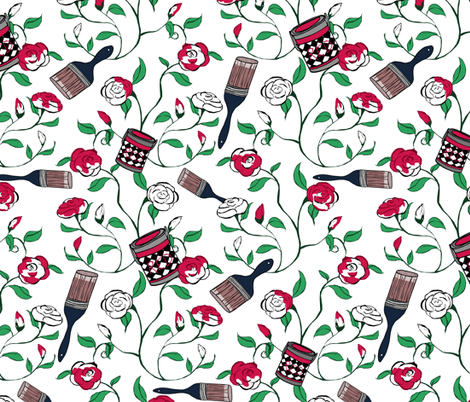 Painting the Roses Red fabric by pond_ripple on Spoonflower - custom fabric