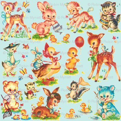 Favorite vintage Baby Animals Aqua