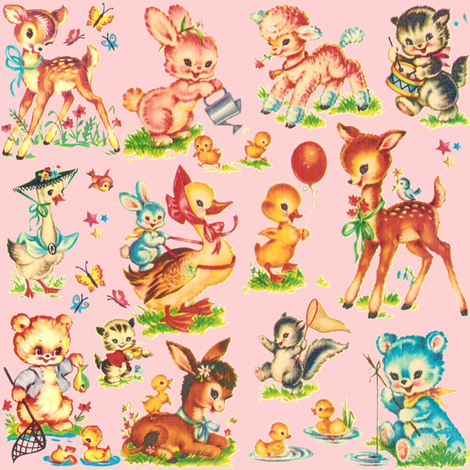 Favorite PINK vintage Baby Animals Paris Bebe fabric by parisbebe on Spoonflower - custom fabric