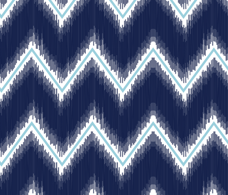 Ikat_Chevron_Navy fabric by crisbucknall on Spoonflower - custom fabric