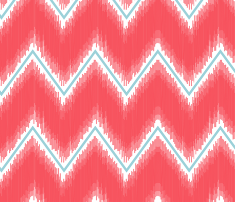 Ikat_Chevron_Coral fabric by crisbucknall on Spoonflower - custom fabric