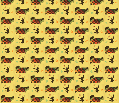 Monkey jumping on the bed fabric by vonblohn on Spoonflower - custom fabric
