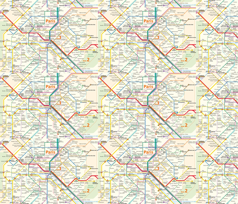 Paris Metro Map fabric by meigheyburn on Spoonflower - custom fabric