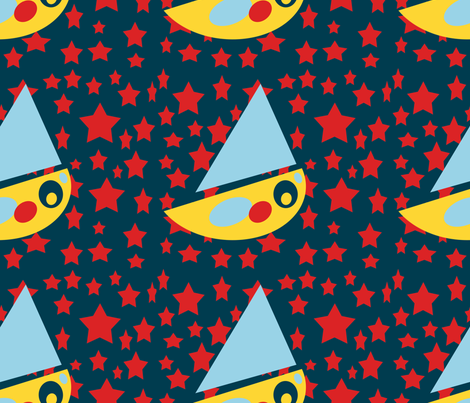 Sailing to the Moon fabric by anniedeb on Spoonflower - custom fabric
