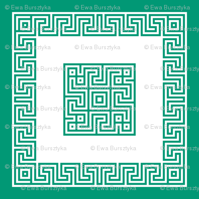 Greek key pillow - emerald