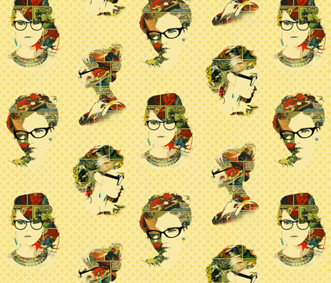 Tres chic, tres geek (visages mixtes) fabric by gail_mcneillie on Spoonflower - custom fabric