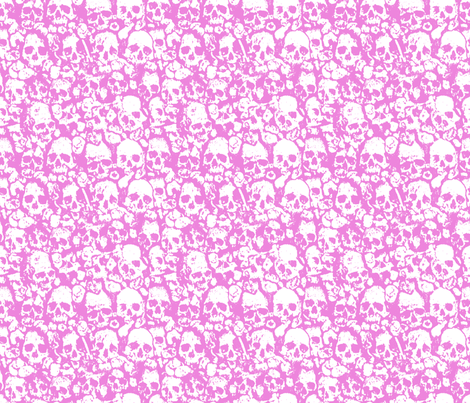 Skull Wall Pink.  fabric by ben_goetting on Spoonflower - custom fabric