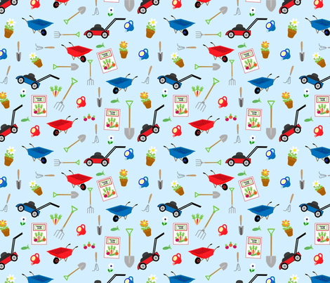Garden Tools fabric by almost_vintage on Spoonflower - custom fabric