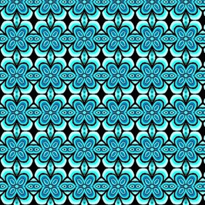 seafoam blue flowers bandana