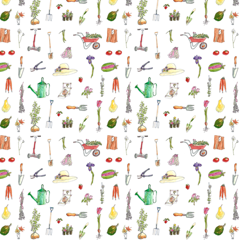 Garden_Tools__Garden_Pleasures fabric by katygilmore on Spoonflower - custom fabric