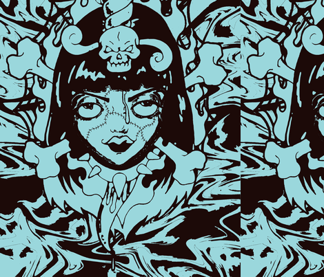zombiegirl-blue fabric by gmstrawn on Spoonflower - custom fabric