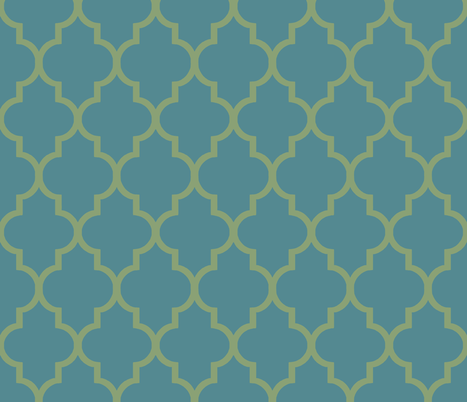 Teal and Green Ogee fabric by sparrowsong on Spoonflower - custom fabric