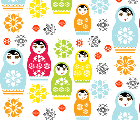 Nesting Dolls  fabric by happyhappymeowmeow on Spoonflower - custom fabric