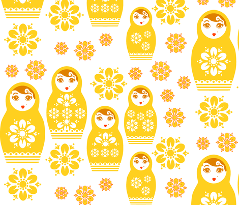 Nesting Dolls- Yellow fabric by happyhappymeowmeow on Spoonflower - custom fabric