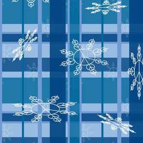 snowflake blue plaid