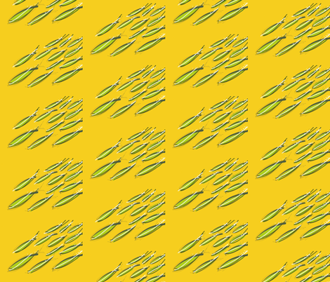 Yellow School of fishes fabric by luluburket on Spoonflower - custom fabric
