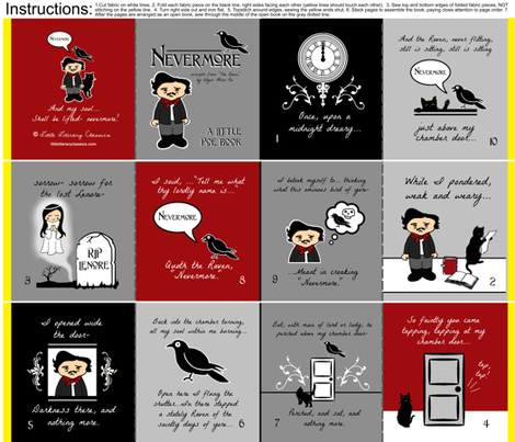 Nevermore Little Poe cloth fabric quiet book  fabric by littleliteraryclassics on Spoonflower - custom fabric
