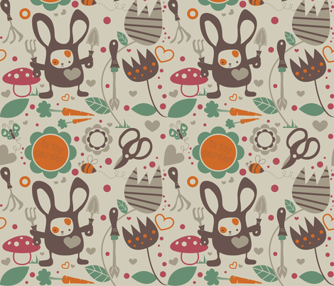 SpringtimeBunny_GARDEN TOOLS fabric by zakkasweetdesign on Spoonflower - custom fabric