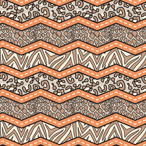 Jungle Animal Chevron Orange fabric by katrinazerilli on Spoonflower - custom fabric