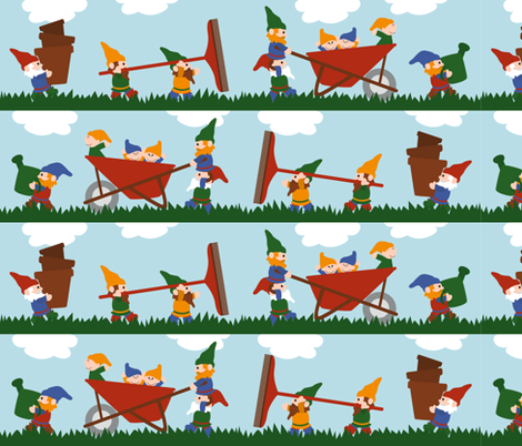 Gardening Gnomes fabric by jennifer_clarke_designs on Spoonflower - custom fabric
