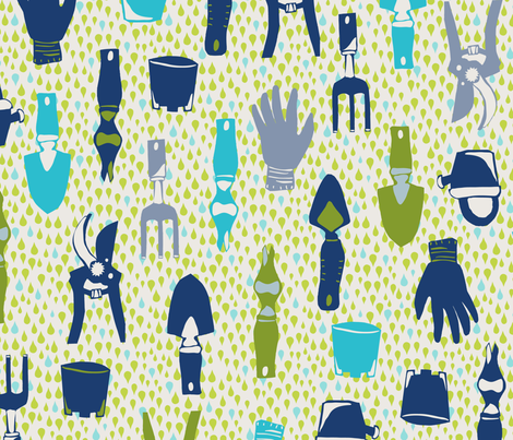 megmelrose_gardeningtools fabric by megmelrose on Spoonflower - custom fabric