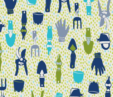 megmelrose_gardeningtools fabric by megmelrose on Spoonflower - custom fabric