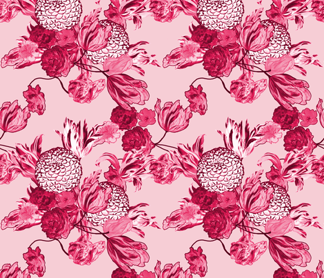Mid Century Modern Floral ~ Pink and Cranberry fabric by peacoquettedesigns on Spoonflower - custom fabric
