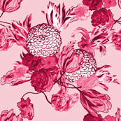 Mid Century Modern Floral ~ Pink and Cranberry