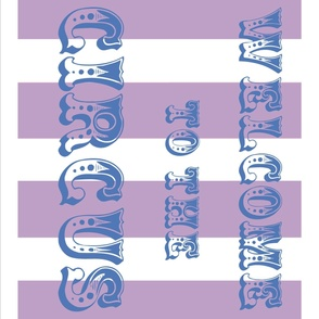 Circus Flag, blue on lavender 