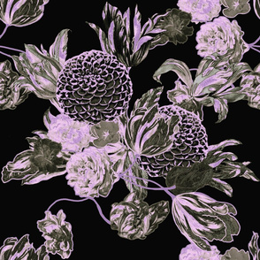 Mid Century Modern Floral ~ Black and Lilac