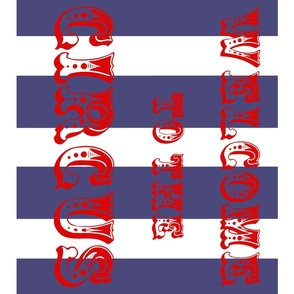 Circus Flag, red on navy