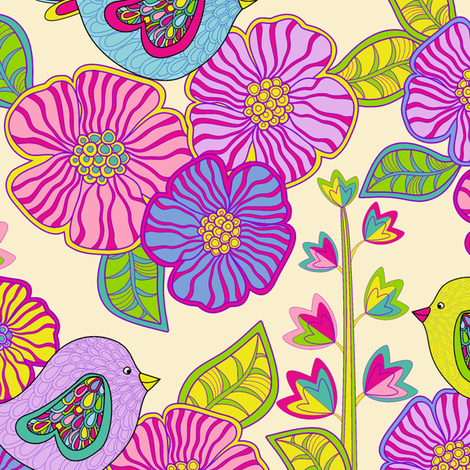 My birds and my flowers fabric by juliagrifol on Spoonflower - custom fabric