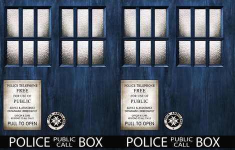 TARDIS Wood Signage -LARGE SCALE fabric by bjornonsaturday on Spoonflower - custom fabric
