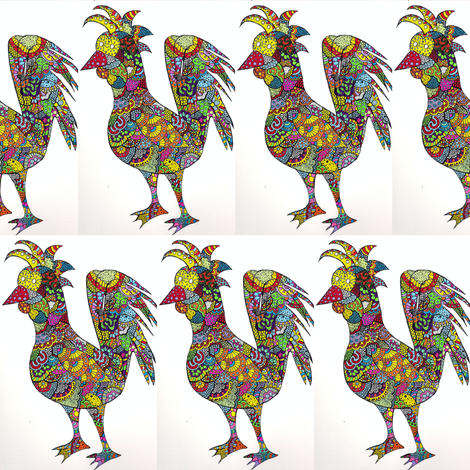 Rooster fabric by tonyyarbray on Spoonflower - custom fabric