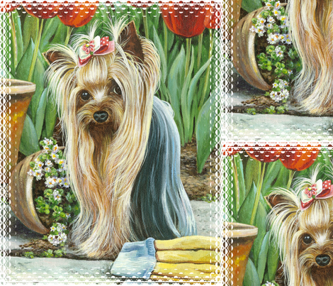 Yorkie_gardener fabric by greerdesign on Spoonflower - custom fabric