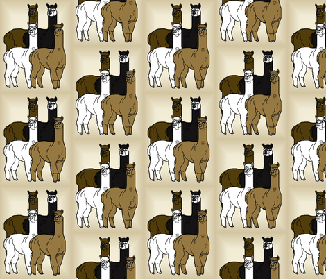 Four Alpacas Group Animals Fabric fabric by lworiginals on Spoonflower - custom fabric