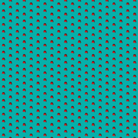 Tiny Red Fez Dots on Teal