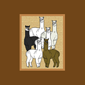 Alpacas Brown Poster Fabric