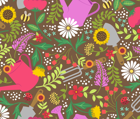 Garden Tools fabric by alissecourter on Spoonflower - custom fabric
