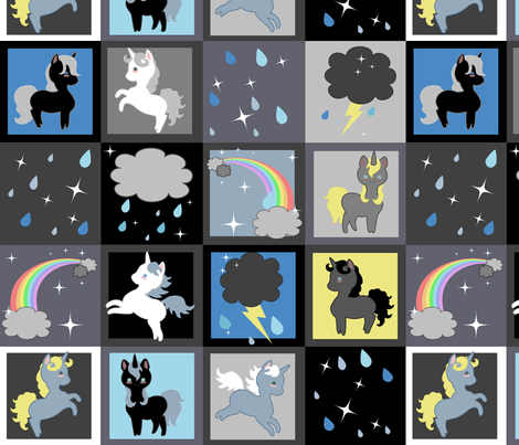 Rainy Day Unicorns Cheater Quilt fabric by lyddiedoodles on Spoonflower - custom fabric
