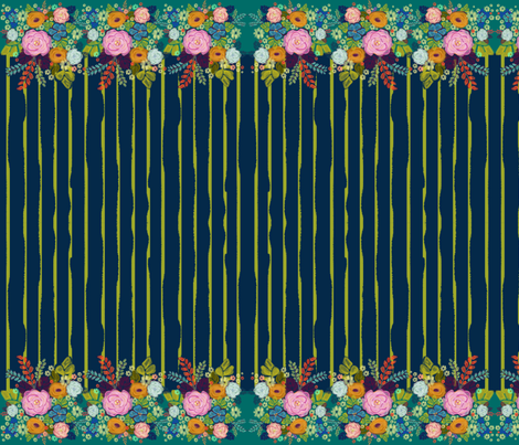 Folksy Floral Border fabric by alyssaray on Spoonflower - custom fabric
