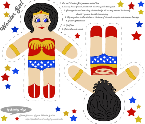 Wonder Girl cut and sew doll fabric by shelleyfaye on Spoonflower - custom fabric